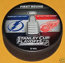 TAMPA BAY LIGHTNING DETROIT RED WINGS 2015 Playoff Round 1 NHL DUELING LOGO PUCK
