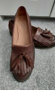 *FAT FACE LADIES SIZE 5 BROWN LEATHER TASSEL BROGUE SHOES*RRP £69*