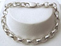 GENUINE SOLID 925 STERLING SILVER OVAL BELCHER BRACELET with CLASP 19, 21cm