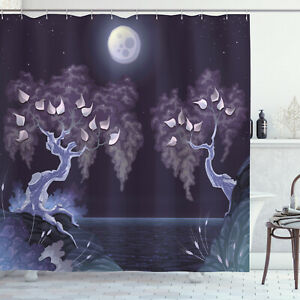Nature Shower Curtain Magical Dramatic Night Print for Bathroom