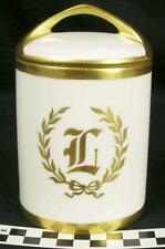 Antique Rosenthal White & Gold Monogram L Condensed Milk Holder Jar & Lid (HH)