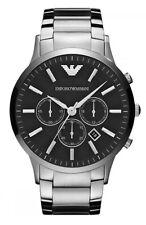 Emporio Armani Herren Armbanduhr AR2460 Chrono Edelstahl Silber Schwarz Neu