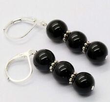 8mm Black Agate Onyx Round Beads Silver Dangle Leverback Hook Earrings JE212
