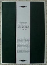 ASTON MARTIN LAGONDA London Motor Show Sales Brochure 1993 VANTAGE DB7 VOLANTE