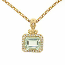 "NEW 14K Yellow Gold 3.77ctw VS Diamond Green Amethyst Pendant w/ 20"" Curb Chain"