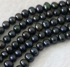 Genuine Natural 7-8mm South Sea Black Pearl Freshwater Cultured Loose Beads 15""