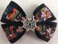 "Girls Hair Bow 4"" Wide Mickey Minnie Halloween Spiderweb Flatback Frnch Barrette"