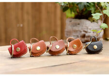 Hand-made Leather Mini Bag Simple Coin Purse Keychain Keyring Strap Gift Be