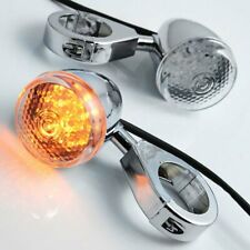 Motorcycle Chrome Front Amber Led Turn Signal Lights 41mm Fork Clamp For Harley