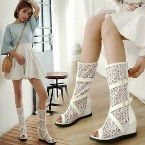 Spring Summer New Chic Womens Open Toe Wedge Heels Hollow Mesh Mid-Calf Boots