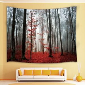 Horror Gothic Red Forest Tapestry Wall Hanging for Living Room Bedroom Artwork