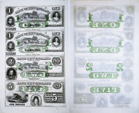 1800's UNCUT SHEET $1, $1, $2 & $5  Bank of New England, Goodspeed Landing, CT