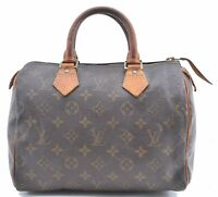 Authentic Louis Vuitton Monogram Speedy 25 Hand Bag M41528 LV B7527