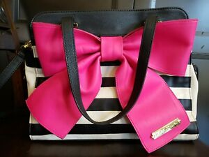 Betsey Johnson Striped With Pink Bow Handbag Crossbody Purse