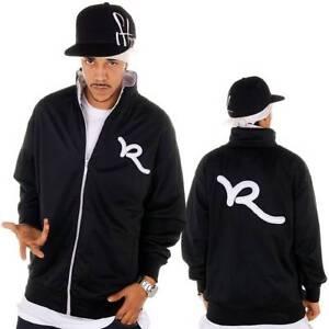Rocawear Men's Black Zip Up Track Jacket, Hip Hop Star, Urban Wear, Skater Wear
