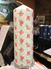 CATH KIDSTON PROVENCE ROSE Lt Blue HAND DECORATED PILLAR CANDLE VANILLA SCENT