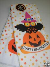 2 Happy Halloween Midnight Market Kitchen Dish Towels Pumpkins Black Cat Owl NWT