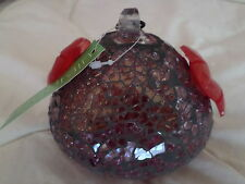 Bird Brain Minikin - Mosaic  Shimmering Glass -  Red tones hummingbird Feeders
