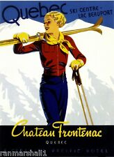 1938 Quebec Ski Winter Vintage Canada Canadian Travel Advertisement Poster