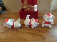 Vintage Set of 3 Porcelain Christmas Mice Figurines #2715
