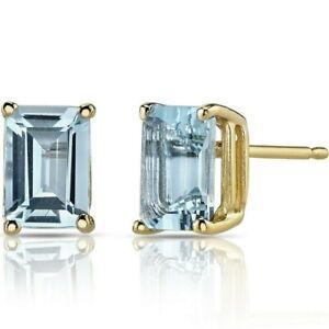 1.62 ct Emerald Cut Blue Aquamarine Stud Earrings in 14K Yellow Gold