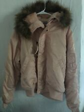 Alpha Industries X UO N-2B Bomber Jacket Pink Hooded Faux Fur Jacket Large NEW!