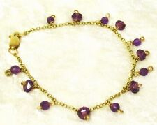 Sparkling Faceted amethyst 9ct hallmarked yellow gold charm bracelet handmade