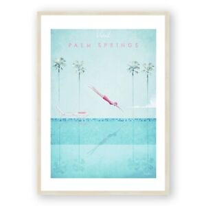 Palm Springs Art Print , Vintage California , Swimming Pool Art , Travel Poster