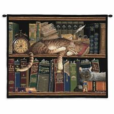 Remington The Well Read Cat Tapestry Wall Hanging 2877-WH ~ Made in USA