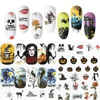 48 sheets nail art water decals skull halloween manicure transfer New stick Z5V0