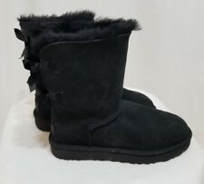 UGG WOMEN'S BAILEY BOW II BOOTS SHOES SUEDE WOOL BLACK SIZE 6 NEW! $205