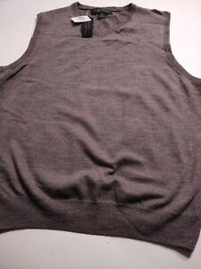 BLOOMINGDALE'S Men's V-Neck 100%  MERINO Wool Xtra Large GRAY Sweater VEST  NWT
