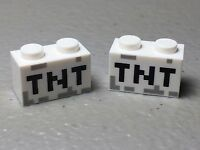 Lego 1x2 Brick White with TNT Pixelated Minecraft Pattern Lot of 2 New Authentic
