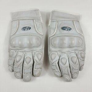 Joe Rocket Women's White Leather Motorcycle Gloves Armored Large Medium 05101301
