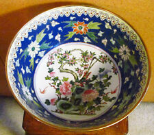 "Antique Chinese Oriental Hand Painted Floral Phoenix Bird 14"" Porcelain Bowl"