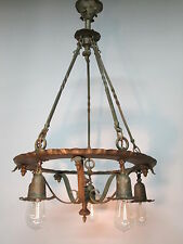 "Antique American  Hand Hammered Brass Chandelier Art Nouveau A & C 38"" Tall"