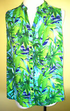 Ladies Womens Sleeveless Button Up Shirt Blouse Top Green Print Rivers Size 10
