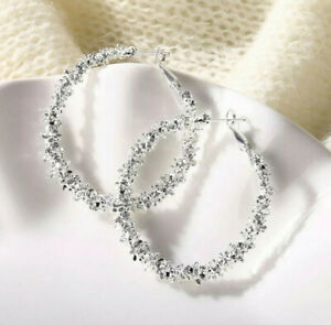 Big Circle Round Hoop Statement Silver Fashion Earrings