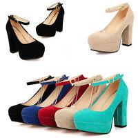 Womens Ankle Strap Block High Heel Platform Pumps Court Shoes UK Size 1--8 D807