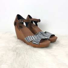 Dr. Scholl's 9.5 M Womens Striped Canvas Melody Ankle Strap Wood Wedge Sandals