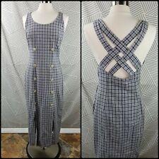 Vtg 90s Womens Size 10 Plaid Linen Blend Strappy Cross Back Maxi Dress Gingham