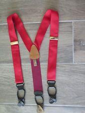TRAFALGAR Red Silk Suspenders Braces Black Leather Harness EUC