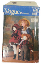 """Vogue 9699 Stuffed Doll Clothes Sewing Pattern 22"""" (56cm) Tall Doll UNCUT OOP"""