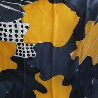 "Vintage Vera Neumann Silk Abstract Geometric Scarf Blue n Gold 1970's~28"" Square"