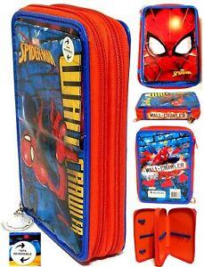 "Marvel Spider-Man  Wall Crawler Reversible 3-Zip Pencil Case (8"" x 5"" x 2"")NWT"