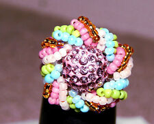 Beaded Pastel Pave' Ring. Handmade by Slave Violet Jewelry Made in the USA