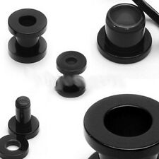 PAIR 0g 0 gauge BLACK SCREW plug 8mm ear stretch tunnel