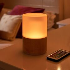 Auraglow Rechargeable Cordless Wireless Colour Changing LED Table Lamp – WOODEN