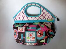 Lily Bloom Multi Color City Travel Print Clutch Handles Wrist Hand Bag
