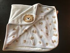 Carters Just One You Blue Lion Baby Blanket Brown White Stripe Cotton Lovey